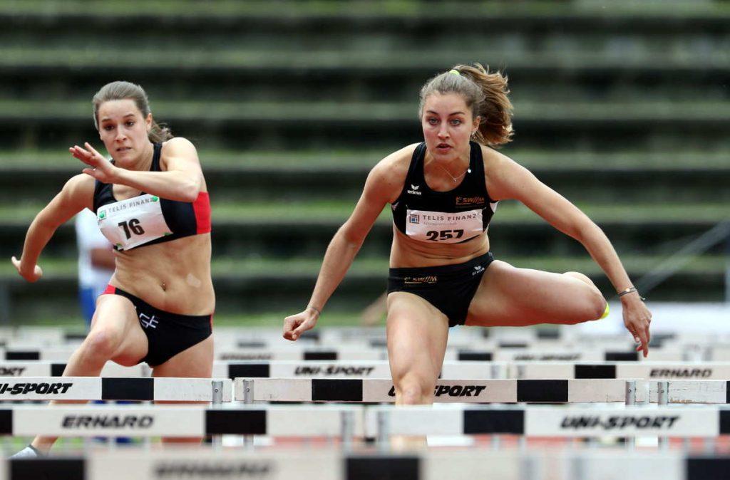 Ganz starkes Rennen von Pauline Huber  von der LG Stadtwerke München über 100m Hürden mit PB.