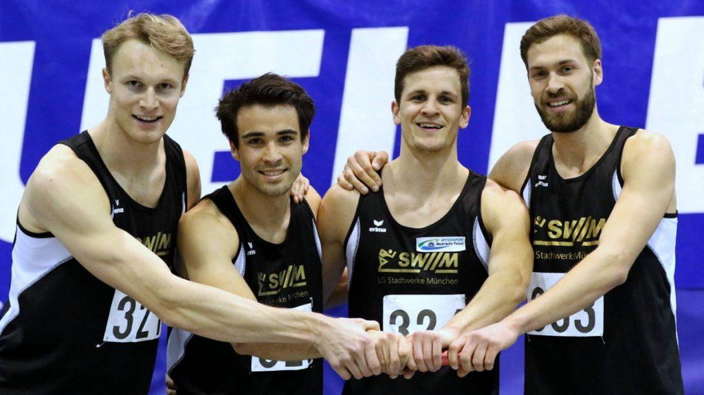 4x200-Meter-Staffel der LG Stadtwerke München gewinnt Gold bei bayerischer Hallenmeisterschaft in Fürth 2017