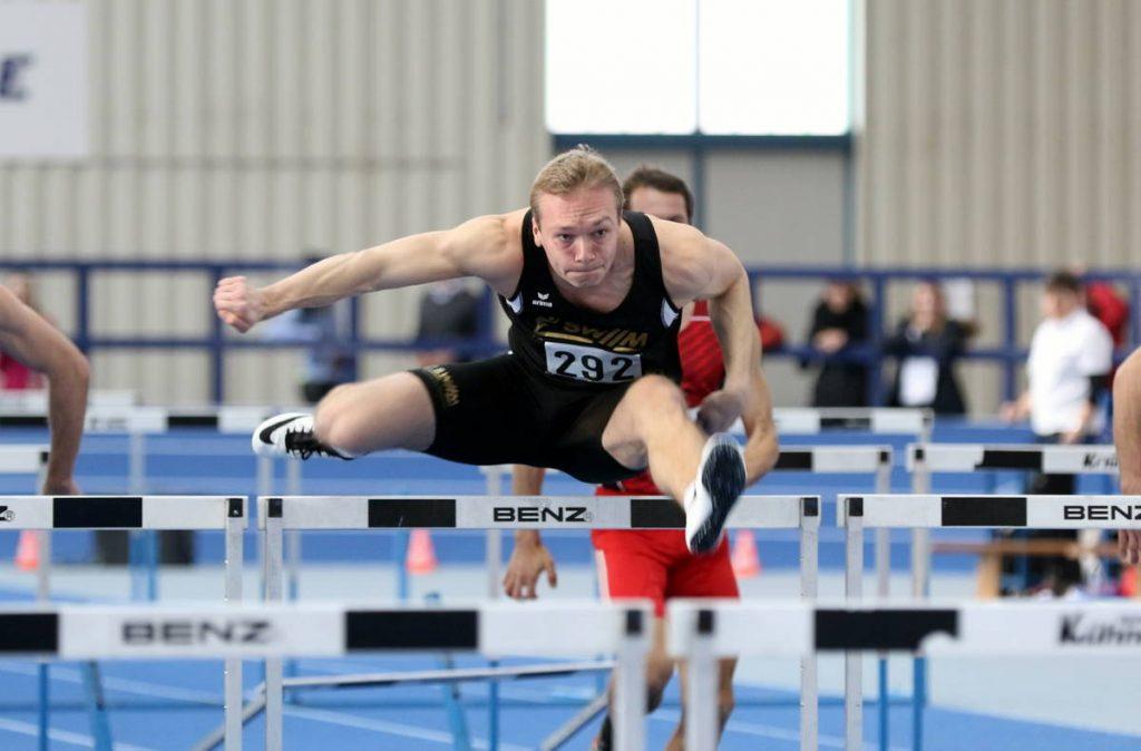 Sebastian Barth von der LG Stadtwerke München: Bayerischer Hallenmeister 2017 über 60 Meter Hürden