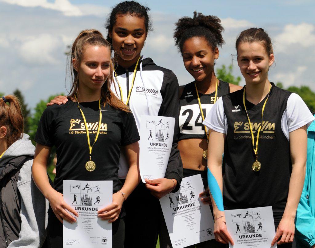 Weibliche 4x100m-Staffel der LG Stadtwerke München