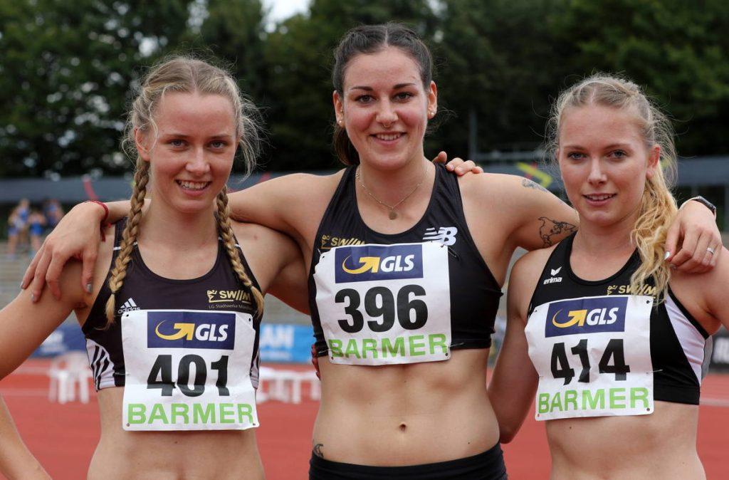 Mareen Kalis, Christina Gess und Katharina Trost von der LG Stadtwerke München